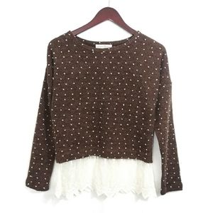 Altar'd State Brown Polkadot Top Lace Trim Small